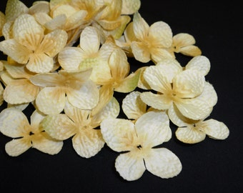 80 Banana Yellow Hydrangea Blossoms - Artificial Flowers, Silk Flowers, Hydrangea petals, Wedding Flowers, Flower Crown, Scrapbooking, Hat