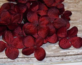 Silk Flowers - 80 Hydrangea Blossoms in Burgundy - Artificial Flower Petals