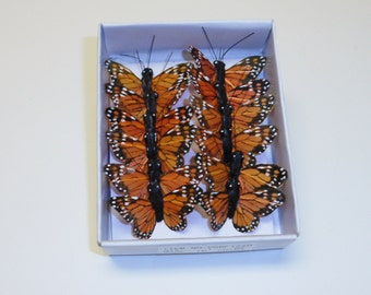 "Feather Butterflies -12 TINY Monarch Butterfly Embellishments in Orange and Black - 1"" - Artificial Butterflies"
