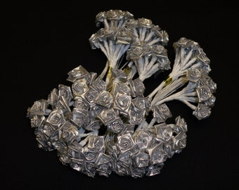 Artificial Flowers - One Lot of 144 Tiny Little Silver Ribbon Roses - VERY SMALL FLOWERS