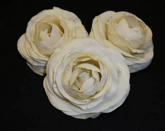 Silk Flowers - THREE Cream Silk Ranunculus Flowers - 3.5 Inches - Artificial Flowers