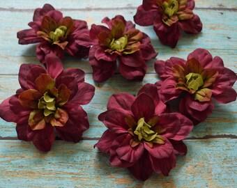 "Silk Flowers - Six Magenta Burgundy Delphinium Blossoms - 2.5"" - Artificial Delphinium"