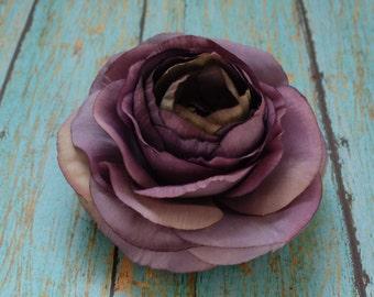 Silk Flower - One Antique Purple Silk Ranunculus - 3.5 Inches - Artificial Flower