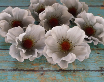 Silk Flowers - SEVEN Artificial Anemones in Shades of Medium Gray - Artificial Flowers