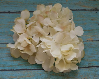 Silk Flowers - One Hydrangea Head in Ivory with Taupe Accents - Top Quality - Artificial Hydrangea