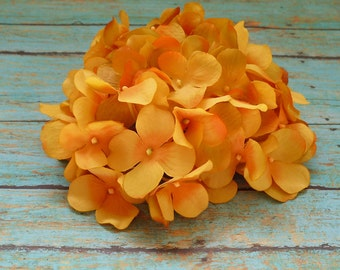 Silk Flowers - One Hydrangea Head in Shades of Yellow Orange - Top Quality - Artificial Flowers