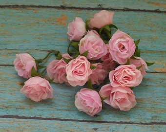 Silk Flowers - 15 Tiny Pastel Pink Sweetheart Roses - Dry Look - MINIATURE Roses