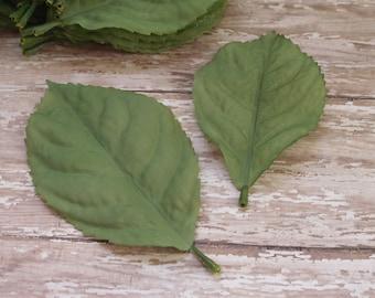 Silk Flowers - Leaves - 30 Lighter Green Hydrangea Leaves - Artificial Leaves - Greenery - Foliage