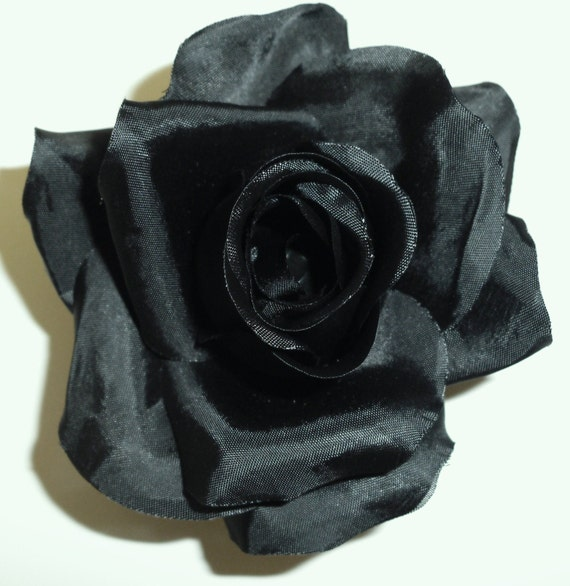 Artificial Flowers - One Black Silk Rose - Artificial Rose, Black Flowers