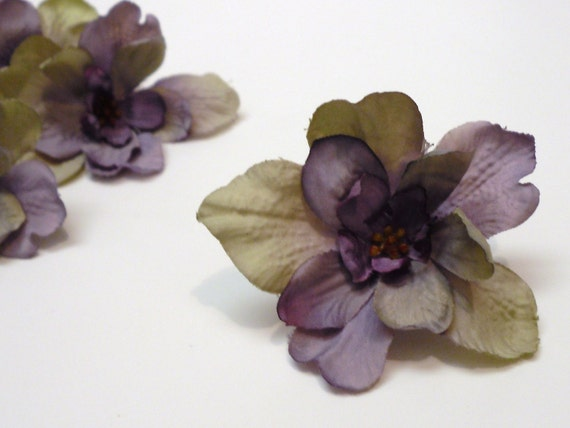 4 Delphinium Blossoms in Purple with Khaki Taupe- Smaller Size, Artificial Flowers, Silk Flowers, Hair Accessories, Wedding, Flower Crown