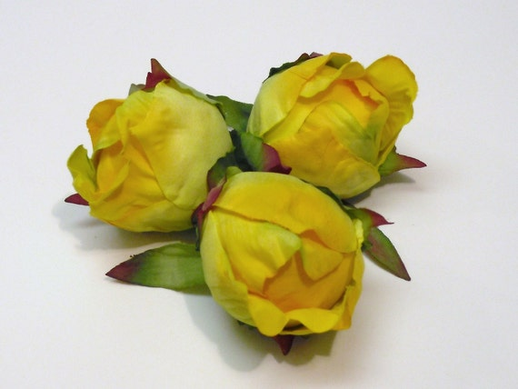 Silk Flowers - Three Large Artificial Peony Buds in Sunny Yellow - Artificial Flowers