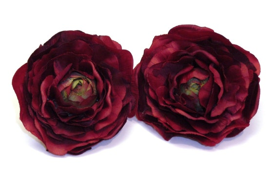 SIlk Flowers - THREE Artificial Ranunculus - Burgundy Red - 3 Inches - Artificial Flowers