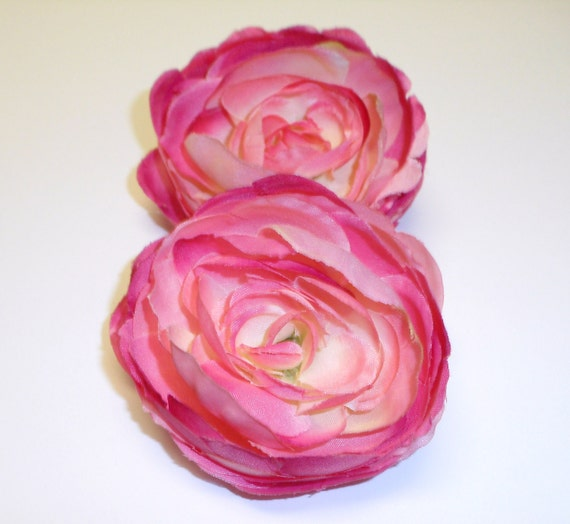 Set of Two Silk Ranunculus Flowers in Shades of Pink - Shabby Chic Style