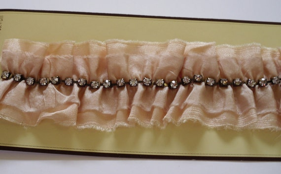Fabric Trim in Toast with Rhinestone Chain for Bridal, Wedding, Hair Accessories, Dress Making, Millinery