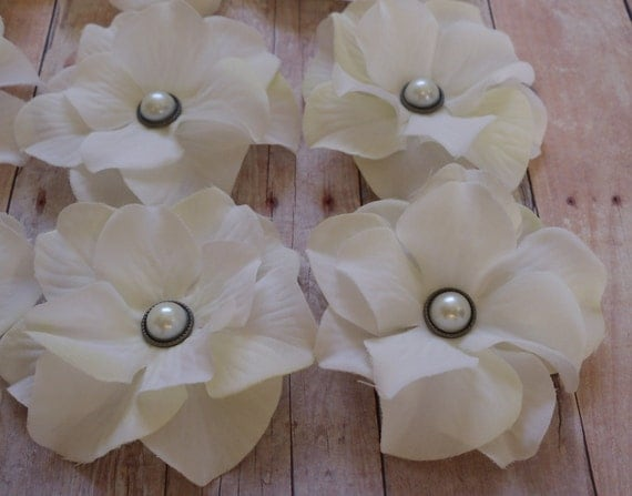 Silk Flowers - FOUR Creamy White Hydrangea Flowers Embellished with Pearl Brads - Embellished Flowers