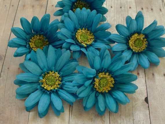 Silk Flowers - Six Turquoise Aqua Blue Artificial Daisies - 3 Inches - Artificial Flowers