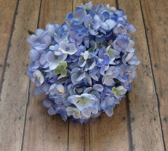 Silk Flowers - One Jumbo Hydrangea Head in Blue Accented with Yellow Green - Small Petals - Artificial Flowers