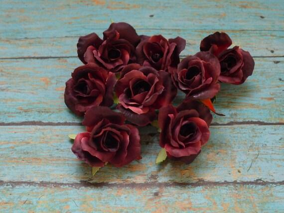 Silk Flowers - EIGHT Mini Roses in Burgundy - 1.5 Inches - SMALL Flowers - Artificial Flowers, Silk Roses