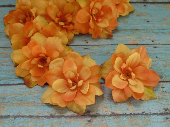 DISCONTINUED COLOR - 10 Delphinium Blossoms in Yellow Orange - 3 Inches - Artificial Flowers
