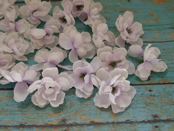 Silk Flowers - 20 Delphinium Buds in Off-White with Lavender - 1.75 Inches - Artificial Flowers