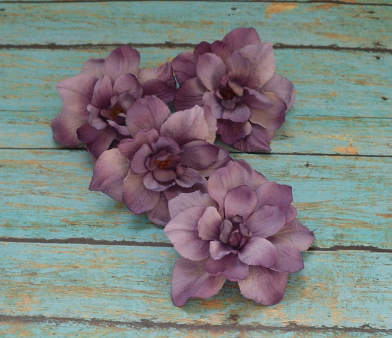 Silk Flowers - Four Delphinium Blossoms in Shades of Purple - 3 Inch Size - Artificial Flowers