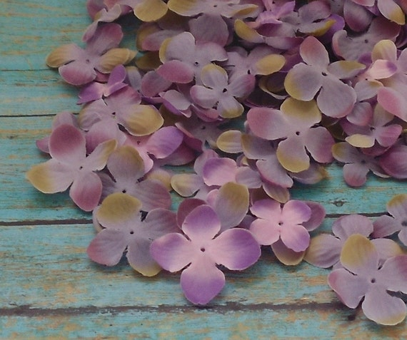 Silk Flowers - 100 Hydrangea Blossoms in Purple Pink and Khaki - Artificial Flowers