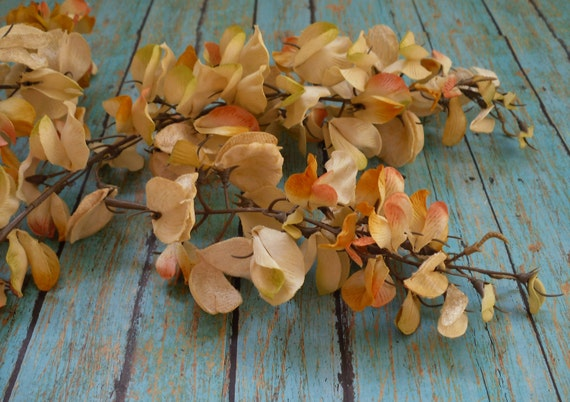 Silk Flowers - FOUR Antique Look Creamy Gold Wisteria Clusters in 2 Sizes - Artificial Flowers