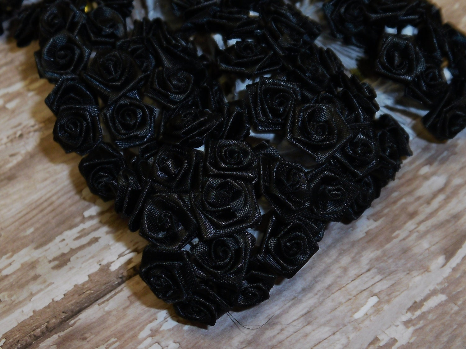 Artificial Flowers 144 Tiny Little Black Ribbon Roses Very