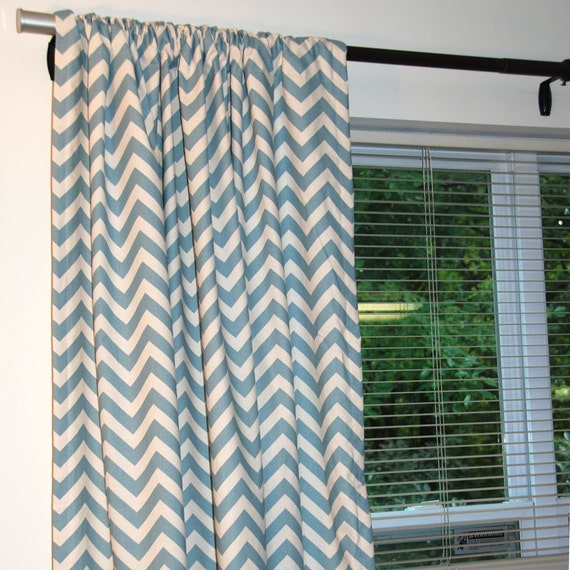SALE- Decorator Zig Zag Chevron Curtain Panels - Pair 84-88 inch - Pick your color