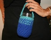 Crocheted Mason Jar Cozy - Blue and Turquoise