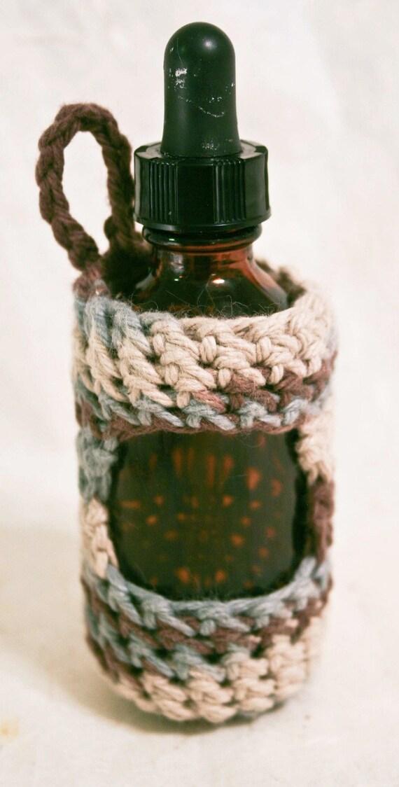 Dropper Bottle Cozy - 2 oz size - Dusty Blue/Brown