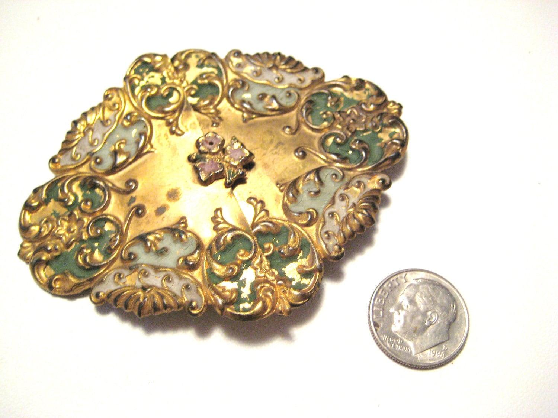 Antique Victorian Enamel Belt Buckle Piece with Ornate Flowers
