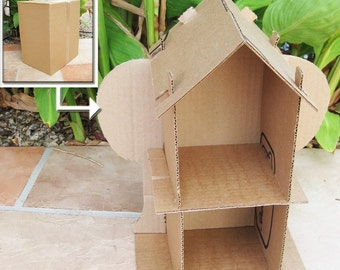SALE Cardboard Dollhouse PDF Pattern Recycle Cardboard Boxes DIY Toy house Paper Craft