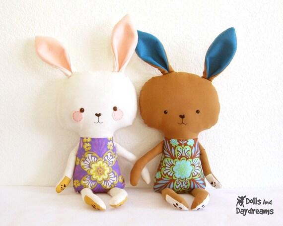 Bunny Rabbit PDF Sewing Pattern Stuffed Toy Softie DIY Easter