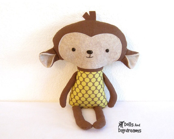Monkey PDF Sewing Pattern Softie Stuffed Toy