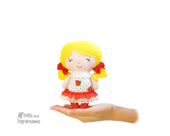 Little Doll PDF Sewing Pattern Small Kawaii Easy Pocket Plush -Tiny Tot