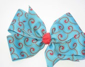 Turquoise and Red Swirly Bow