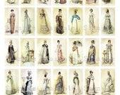 Jane Austen Fashion Show Digital Collage 1 x 2 Inch Domino Images Domino Digital Jewelry Grunge Vintage Victorian Dress Fashion 043