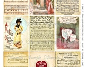Valentines Music of Love ATC Digital Collage ACEO Backgrounds 2.5 x 3.5 Vintage Digital Collage Sheet Music Love Victorian Women Tags 205