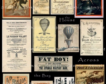 Vintage Hot Air Balloon Ephemera Digital Collage Victorian French English Ads Victorian Tickets Poster Ads Decoupage Images Printable