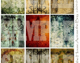 Flourish Grunge ATC ACEO Digital Collage Textures Vintage Backgrounds Steampunk Jewelry Cards Tags Printable Instant Download