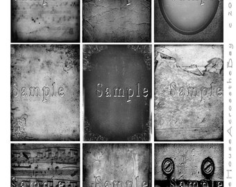 Gray Grunge ATC ACEO Digital Collage Steampunk Goth Backgrounds Texture Printable Instant Download Jewelry Cards Tags