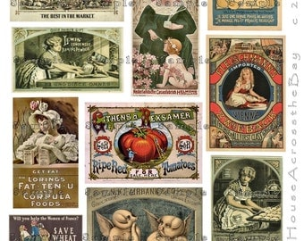 Vintage Food Ads Digital Collage Labels Victorian Advertising Tags Decoupage Images Ephemera Embellishment ACEO Altered Art