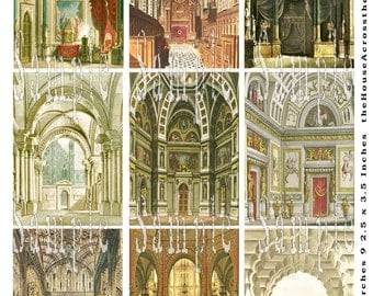 Grand Arches Castle Palace Rooms Digital Collage 2.5 x 3.5 ACEO ATC  Vintage Interiors Design Jewerly Cards Tags Printable Download