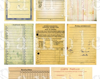 Vintage Blank Forms Backgrounds ATC ACEO Printable Download Digital Collage Grunge Business Forms Jewelry Cards Tags