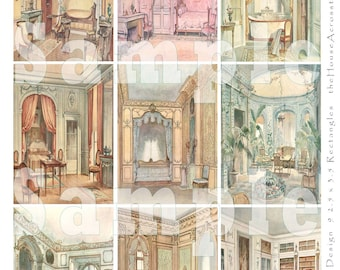 French By Design Digital Collage ATC ACEO Castle Rooms Backgrounds France French Interior Design Tags Jewelry Cards Printable Download