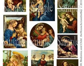 Madonna Child Digital Collage Vintage Fine Art Prayer Cards Decoupage Images Ephemera Printable Instant Download