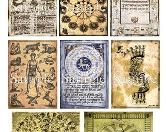 Zodiac Grunge ATC ACEO Digital Collage Astrology Backgrounds 2.5 x 3.5 Printable Instant Download Tags Card Embellishment Ephemera