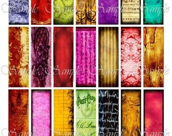 Vivid Color Microslides Digital Collage Sheet 1 x 3 Inches Pendant Images Cards Ephemera Embellishments Printable Download