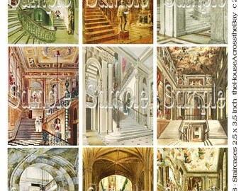 Castle Staircases Digital Collage ATC ACEO 3.5 x 2.5 Palace Vintage Images Ephemera Embellishments Tags Printable Download